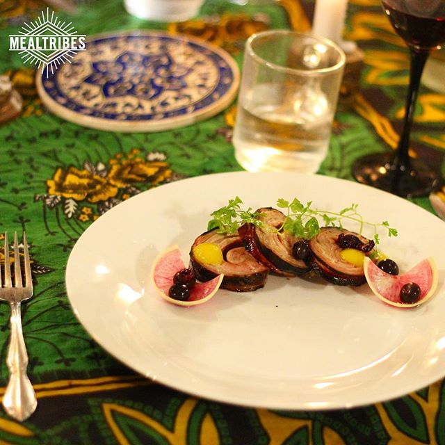 Grilled lambchetta bay pickled blueberries and citrus puree. Thank you @fanoflamb @cai_n_pepper  @margaretlefton for helping us curate this special night for the @mealtribeshunt winners! More exciting dinners to come! #mealtribes #bestdcdinnerparty