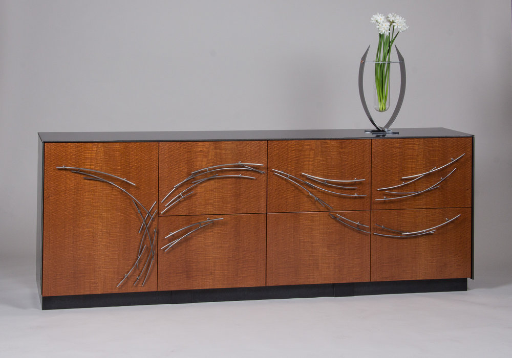 Office credenza with file storage; steel and cherry