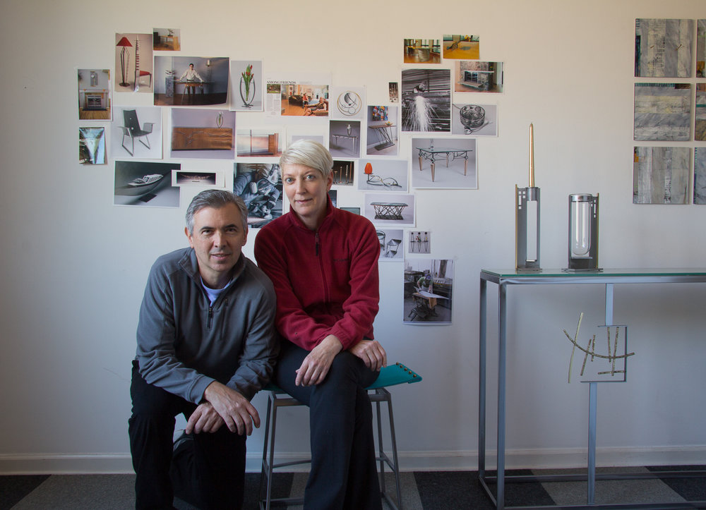 Ken and Julie in their studio with new work and photos of some 'classic' pieces and shots from the steel room!