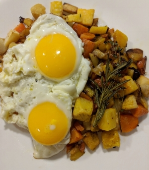 Eggs with a mix of root vegetables