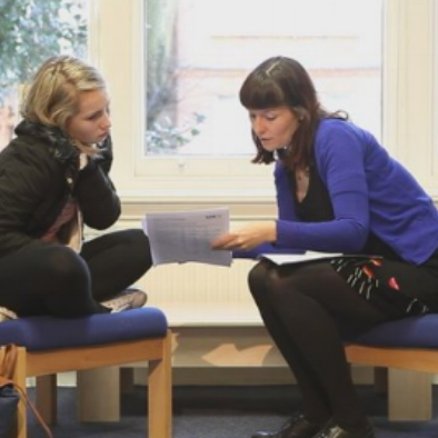 This image is from a training video on using outcome measures for the Evidence Based Practice Unit - the young woman shown is an actor.