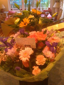 Flowers from my publisher and my family