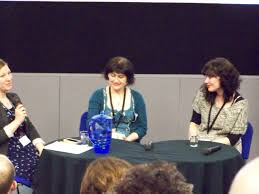 Sheena Wilkinson with Elaina Ryan of CBI and Writer, Deirdre Sullivan