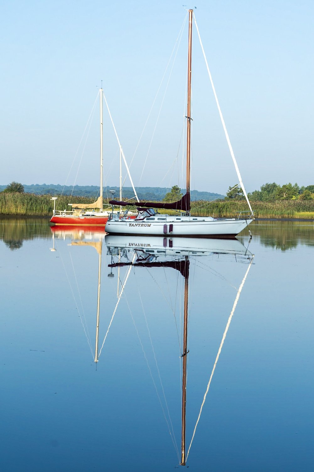 Sailboat reflections on the Connecticut River