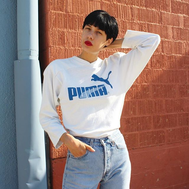 80s Puma Heavy Knit Jersey ⚪️ Available in-store or DM to purchase. ($48 Women's Small - Medium)