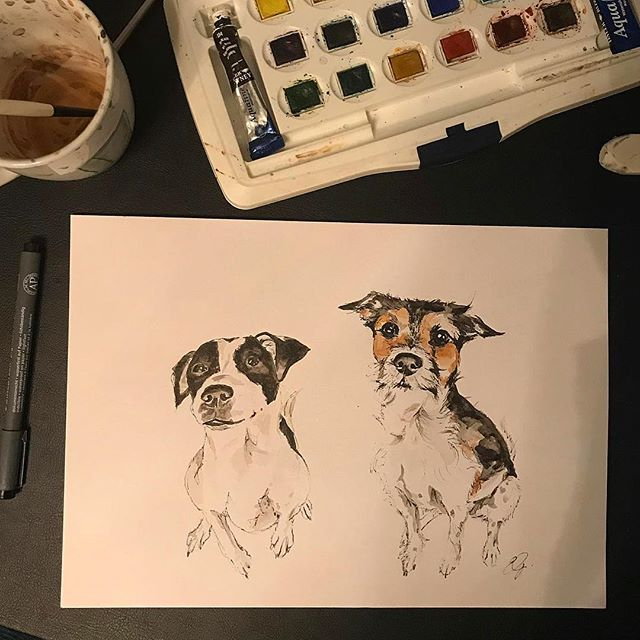 Two cuties in watercolour and fine liner {A4}