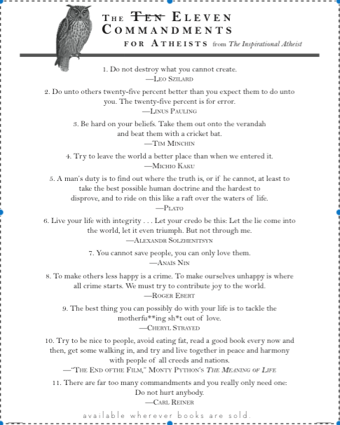 11 Commandments of Atheism text Buzzy Jackson