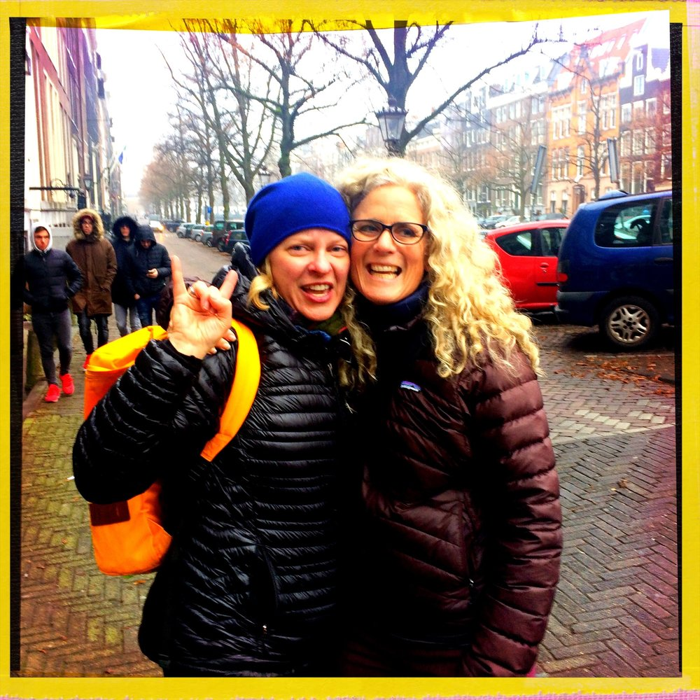 Last time I was in Amsterdam, in late December 2016, I ran into my old high school friend Carol, who was en route to Kenya (I'm the one in the blue hat; she's the one with the beautiful hair who doesn't need a hat). Hoping I will run into the rest of the 1980s graduating classes of Truckee High School this time. WHAT IT COULD HAPPEN.