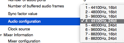 Audio configuration