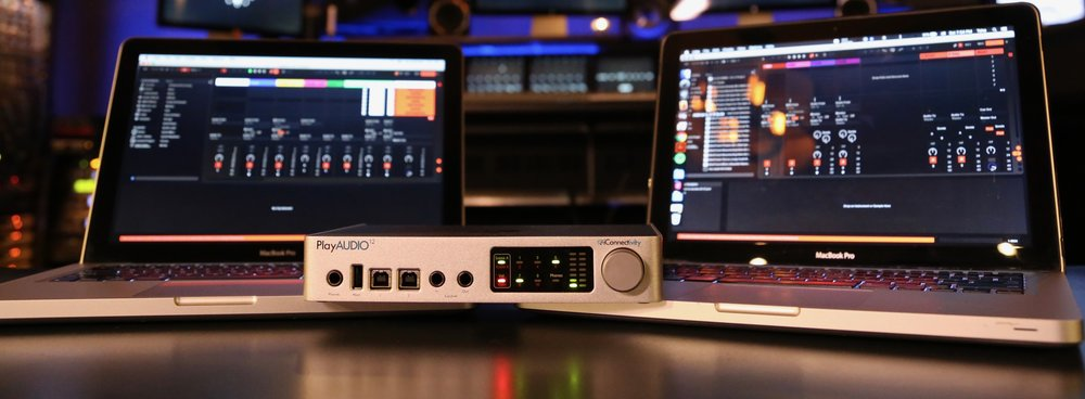 PlayAUDIO12 can directly connect to up to two computers simultaneously. If one computer fails, PlayAUDIO12 will seamlessly and automatically switch to output the working computer to FOH. Your audience won't notice a thing.