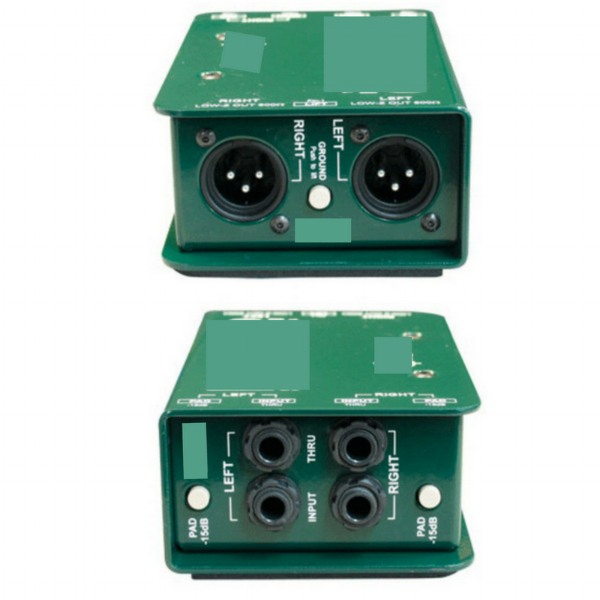 "A typical DI box - this one is a stereo DI which can handle two signals at once. Note the balanced XLR outputs (top) and the unbalanced, 1/4"" jack inputs (bottom)."