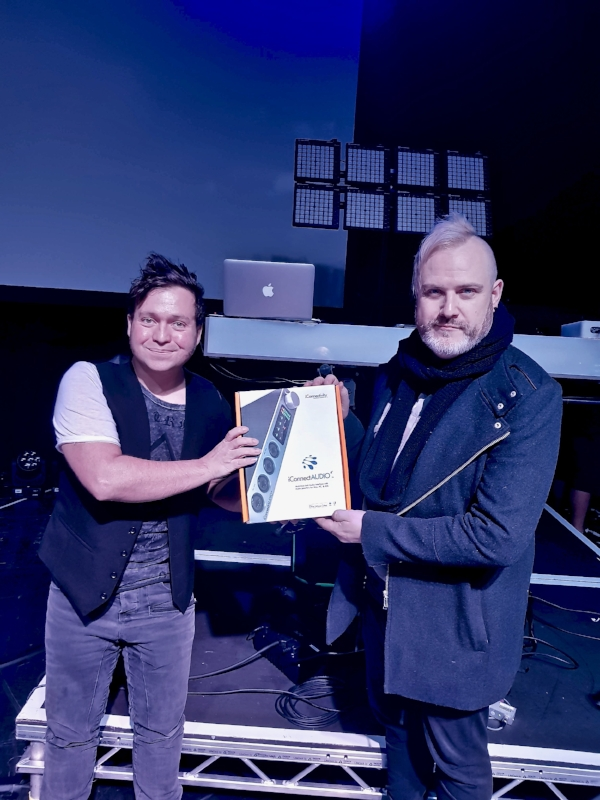 Robbie Bronnimann taking delivery of an iConnectAUDIO4+ from iConnectivity's Bob Malkowski