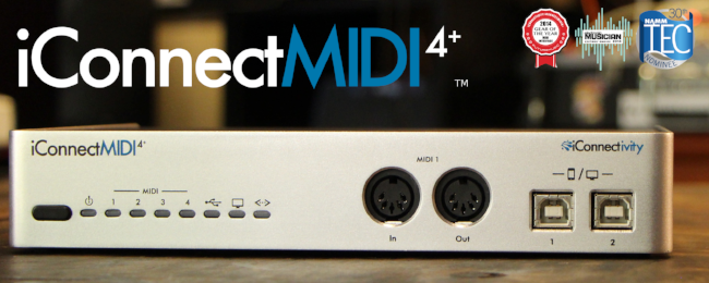 The iConnectMIDI4+ MIDI interface