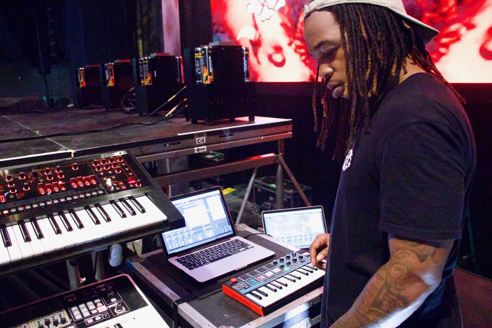 Kenneth Wright in sound-check at the helm of his monster stage rig.