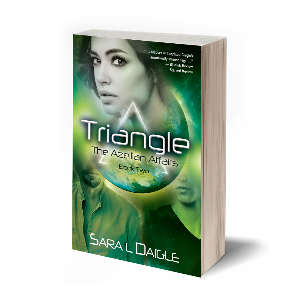 triangle: THE AZELLIAN AFFAIRS, BOOK two - Tangled in a complex relationship with two alien men from a different world, Tamara Carrington's college life on Earth is not going according to plan. Having awakened to special mental psychic abilities that came with the dramatic revelations about her past, including the discovery that she is biologically connected to the planet of Azelle, and unable to return to who she once thought she was, Tamara now faces some difficult choices. Although both men have become an integral part of her life, she realizes she cannot maintain this triangle. Yet, how can she let either man go?As she considers how to reconcile the tensions between the three of them, life explodes onto a stage far beyond anything she could have imagined. With one surprise announcement, Tamara must face the ultimate in decisions, turning her world upside down. What will she do? And how will her decisions impact the young men in her life? Will it rip them apart? Or bring them closer together?Woven throughout this multifaceted story are the questions posed when two different cultures with diverse perspectives about the concepts of relationship, responsibility, family, and love are brought together. By the end, no one is left unchanged.September 2018