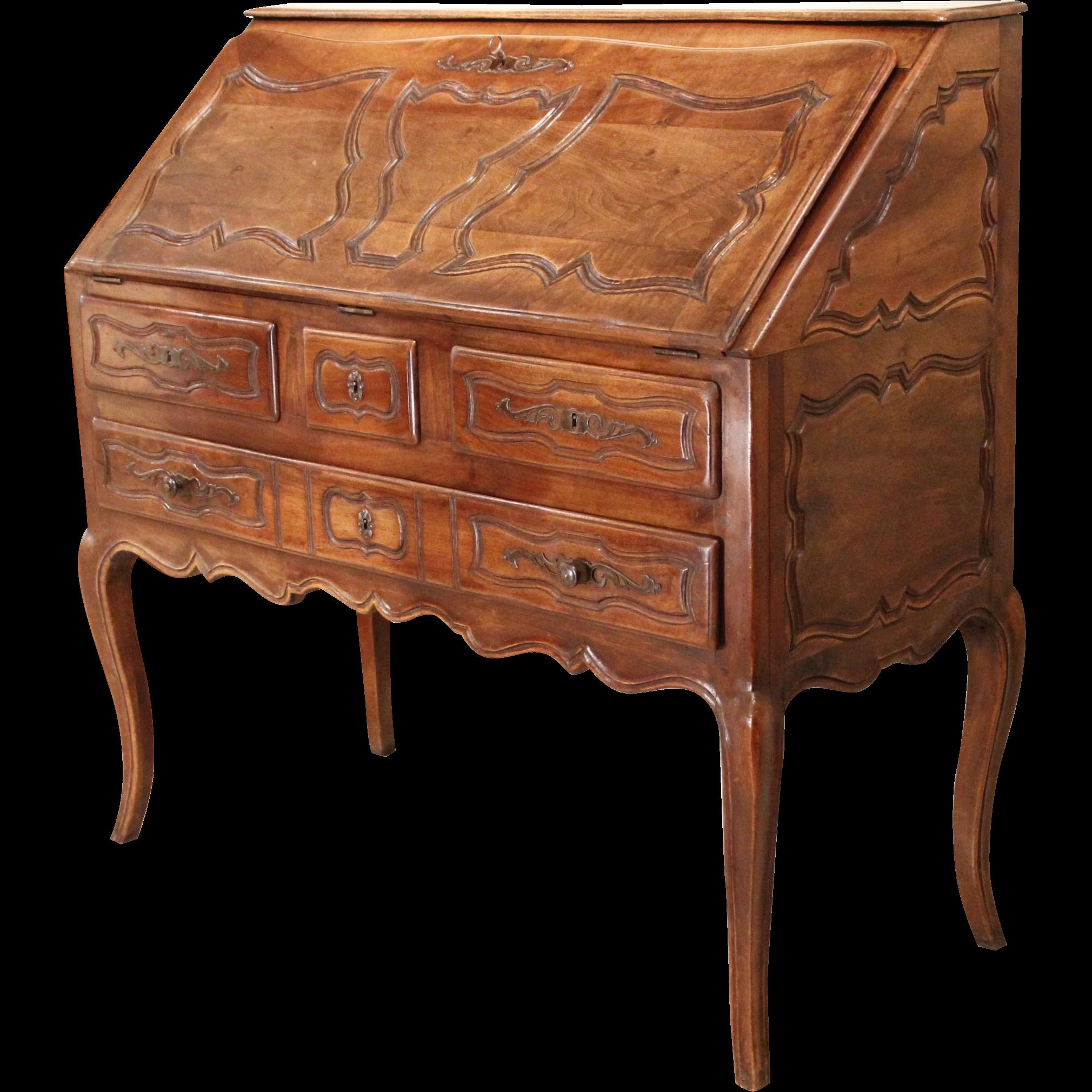 French Provincial Walnut Louis XV Style Slant Front Desk