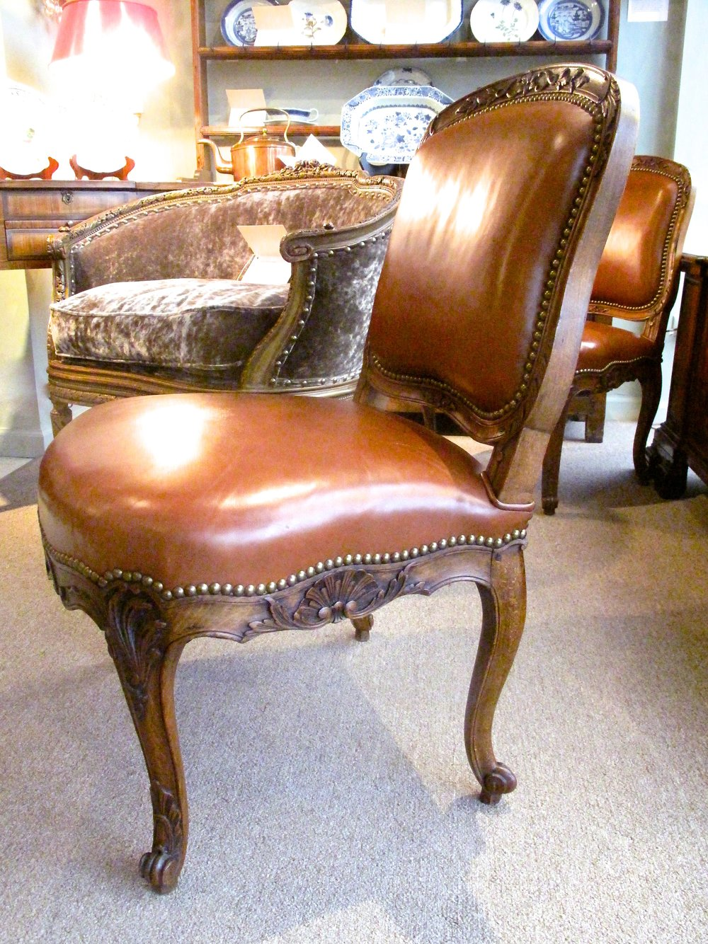 Pair Of French Louis XV Stye Leather Slipper Chairs By Alavoine Et Cie