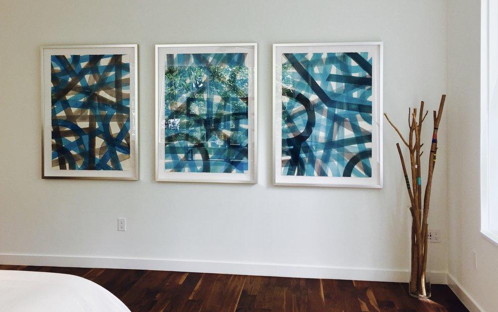 "Master Bedroom: ""Turquoise & Grey Subway""  Series / AquaTint Framed Originals          $1995. each"