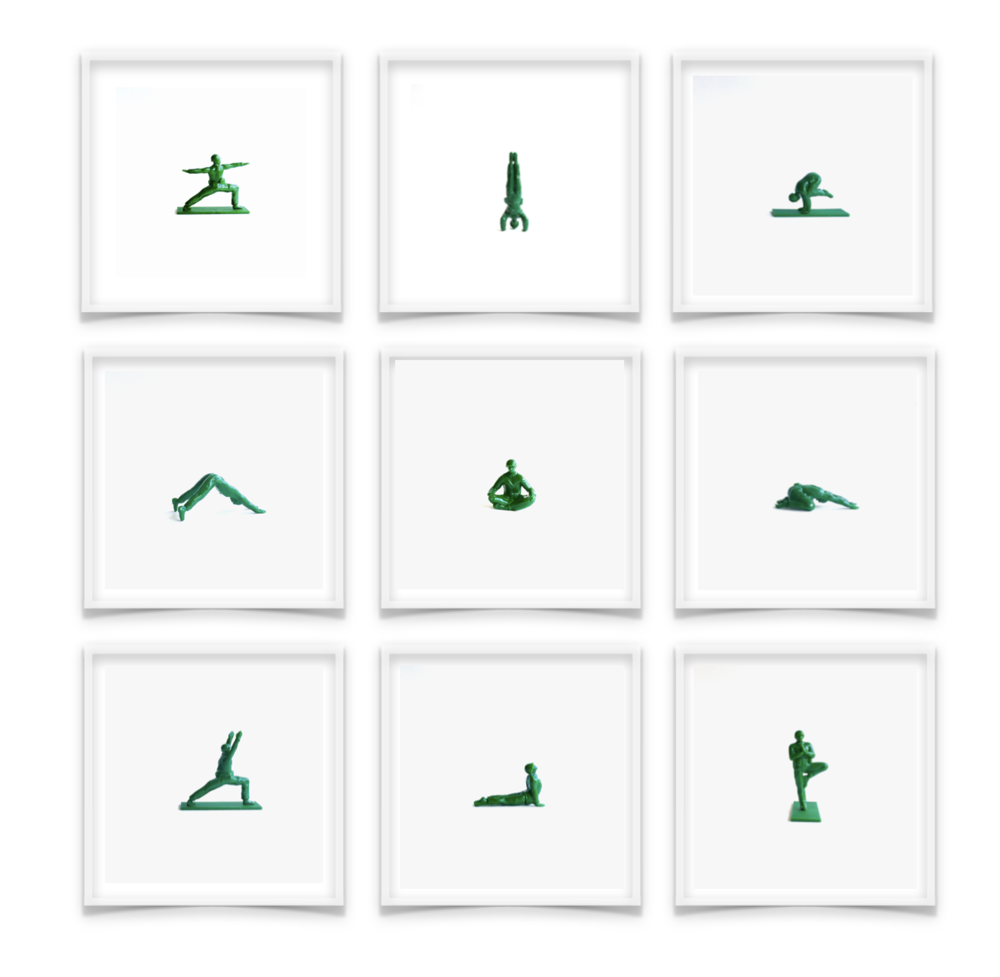 """G.I. Joe Yogi Series: Collection of 9 Limited Edition Signed Prints  Price: $1195. for entire series in white gallery box 9"""" x 9"""" frames"""