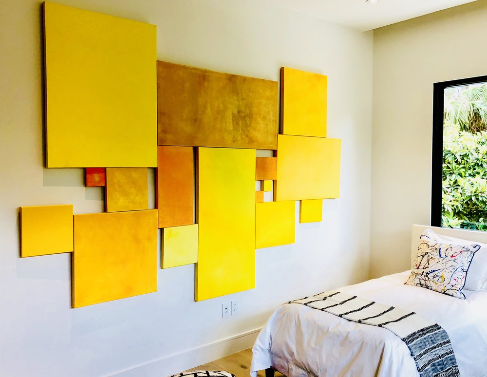 Yellow Canvas Wall Montage:  $6000. Krista Berman