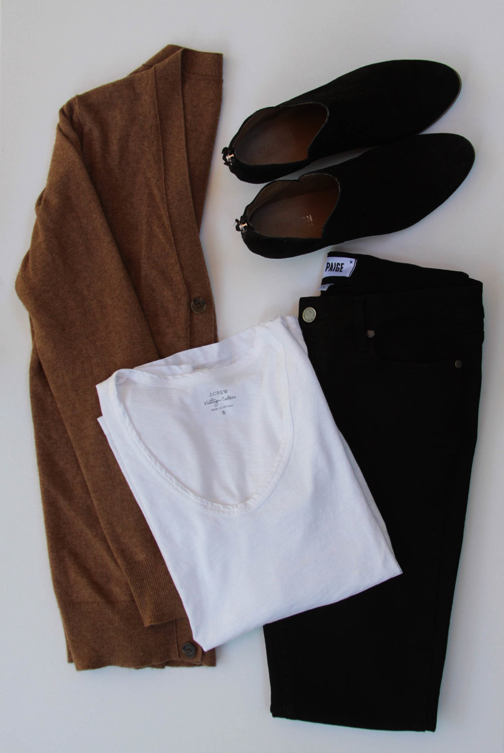 J. Crew Cardigan ( Similar ) |  J. Crew White Tee  |  Paige Denim  |  Kenneth Cole Booties