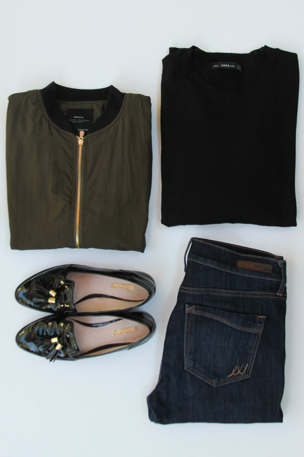 Zara Bomber Jacket ( Similar ) | Zara Black Sweater ( Similar )  |  Express Jeans  | Patent Leather Loafers ( Similar )