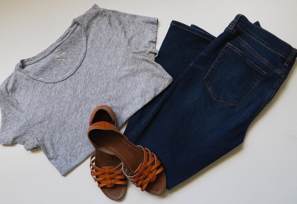 Grey Tissue T Shirt  |  Dark Wash Jeans  |  Brown Sandals