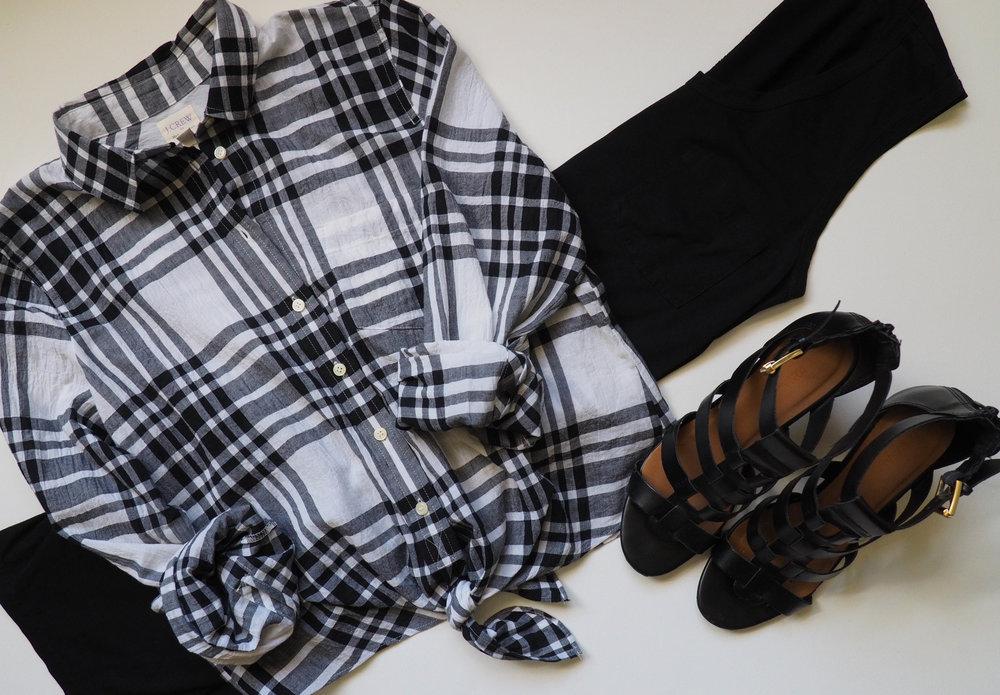 Black Tank Dress  |  Plaid Button Up Shirt  | Black Heeled Sandals (similar)