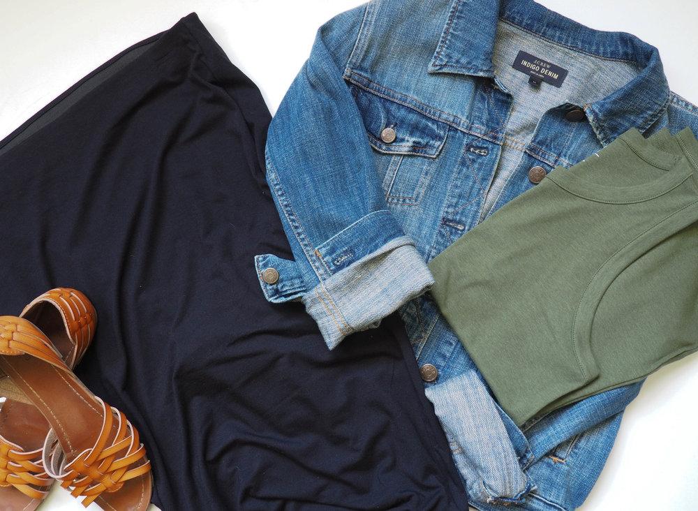 Black skirt  |  Green Tank Top  |  Jean Jacket  |  Brown Sandals