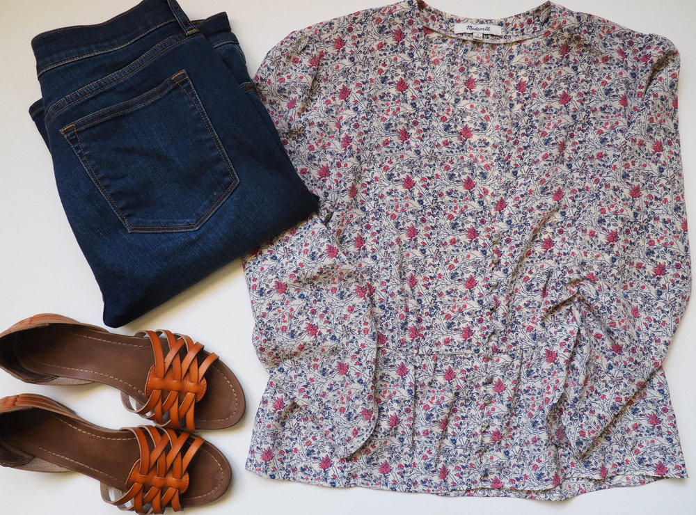 Floral Top  |  Dark Jeans  |  Brown Sandals