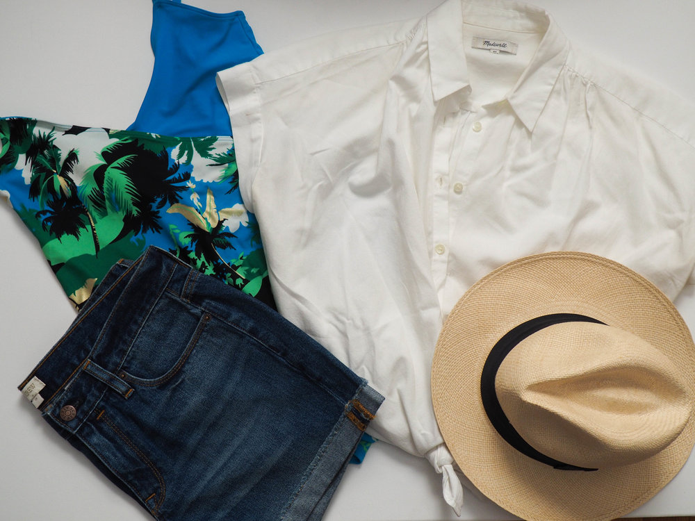 Aerie One Piece ( similar ) |  Madewell Central Shirt  |  J. Crew Factory Denim Shorts  |  J. Crew Panama Hat
