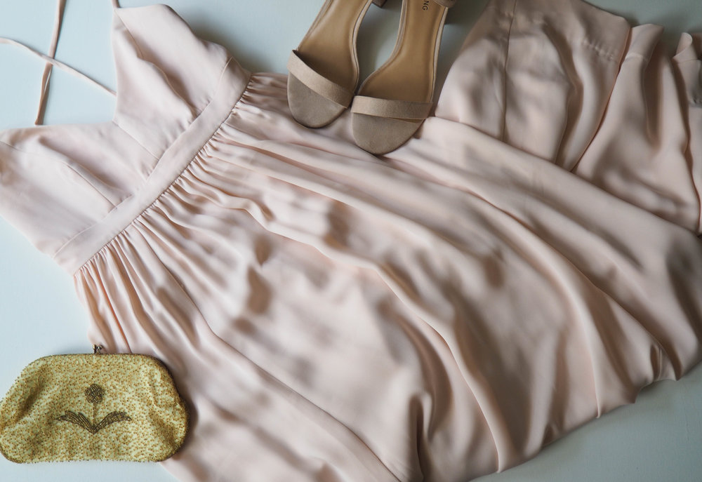 J. Crew Maxi Dress  |  Sandals  | Vintage Clutch ( similar )