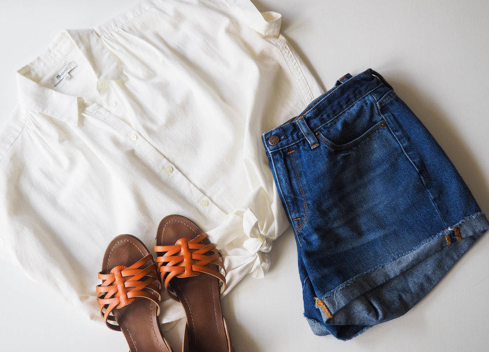 Madewell Button Down  |  J. Crew Denim Shorts  |  Gena Sandals