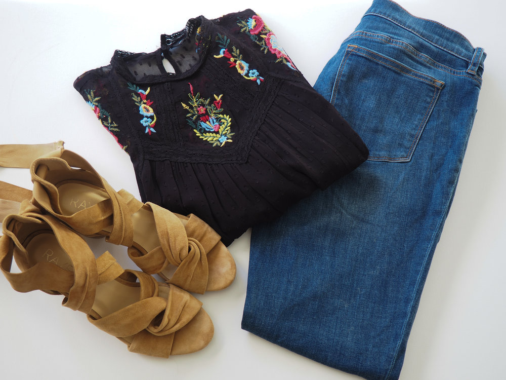 Floral Top  (Similar)  |  Jeans  | Sandals  (Same style, different color)