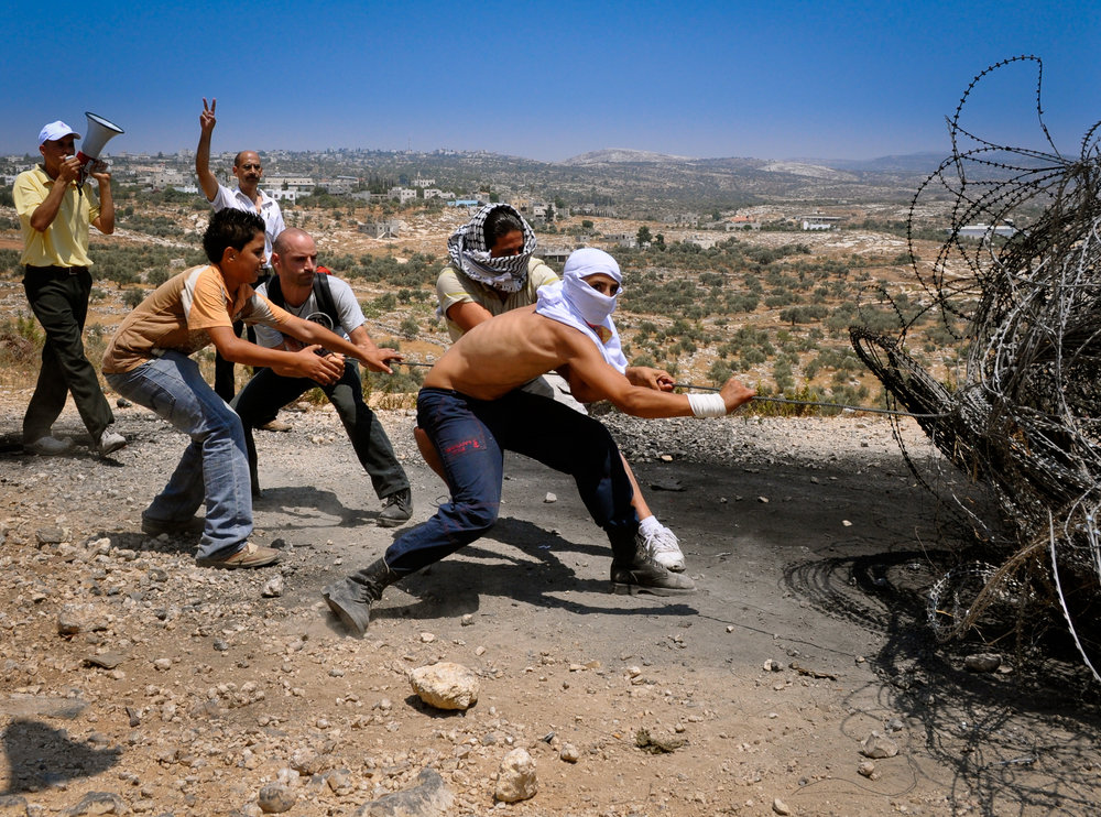 Bil'in, land grab protest, 2009