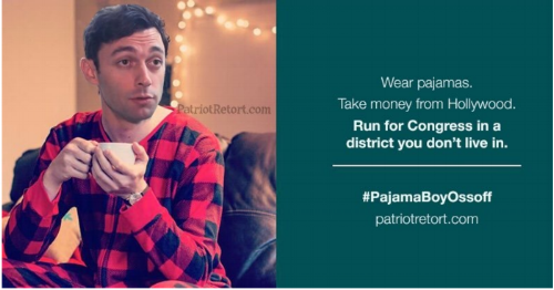 Pajama Boy Ossoff red for the blue