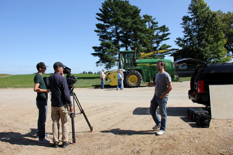 Getting set up for a shot with Dr. Jim Hines and Farmer.