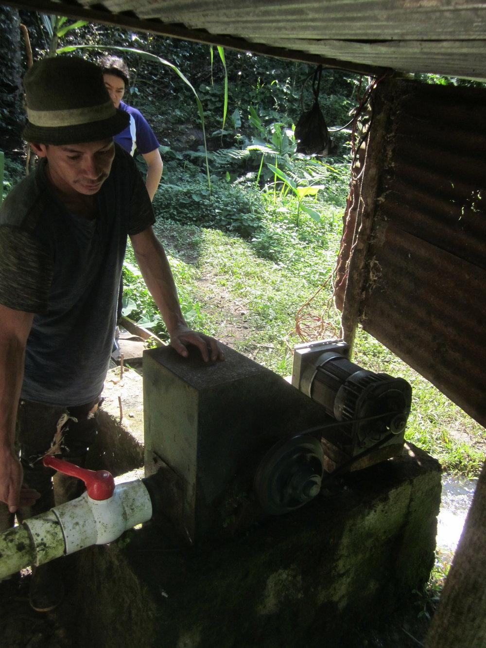 Inspecting the micro-turbine.