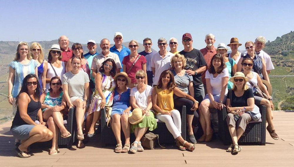 the whole gang, happy to be in the douro valley and eager to taste some wine! (photo courtesy of cristina duarte.)