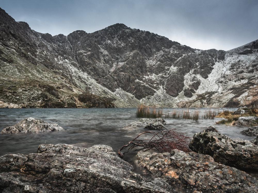 By the shores of Llyn Cau below Cadair Idris in 90mph gusts using Vanguard Photo Vesta TTi mini tripod - 1 second exposure