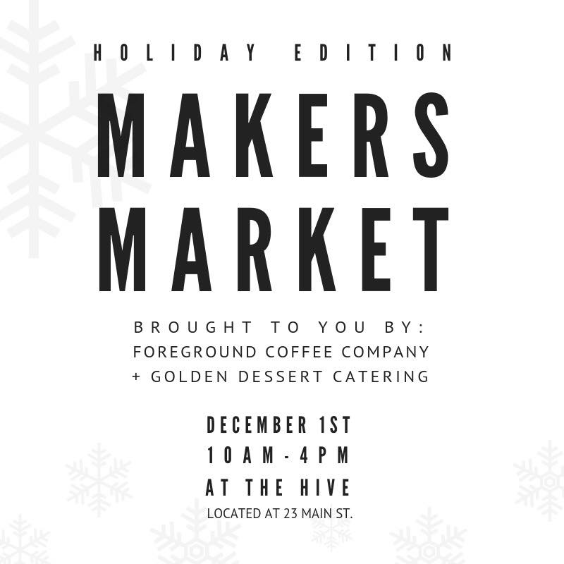 We are thrilled to be hosting a HOLIDAY EDITION MAKERS MARKET. Spend a day with us eating delicious treats, sipping great coffee, and shopping some of your favourite local and creative vendors! Free entry!   // A full espresso bar service from us at Foreground Coffee Company + beautiful desserts from us at Golden: A Dessert Catering Company //   VENDORS:  Foreground Coffee Company Golden Dessert Catering Sunchild Tattoo Chickskipress The Tapestry Archive Foreverly Yours Bath Poetry Wall To Wall Andi Mari Handmade Grace + Brave Elizabeth.lyn Jewelry The pillow Studio Catty Cats and Critters Metanoia Malas