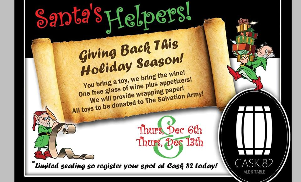 You bring the toy, we bring the wine! Bring a toy to wrap and get a free glass of wine and appies! All toys will be donated to the Salvation Army. Register today for one (or both) of our dates!  We will provide all supplies needed for wrapping!  Call 1-306-313-8282 or  Message us on facebook