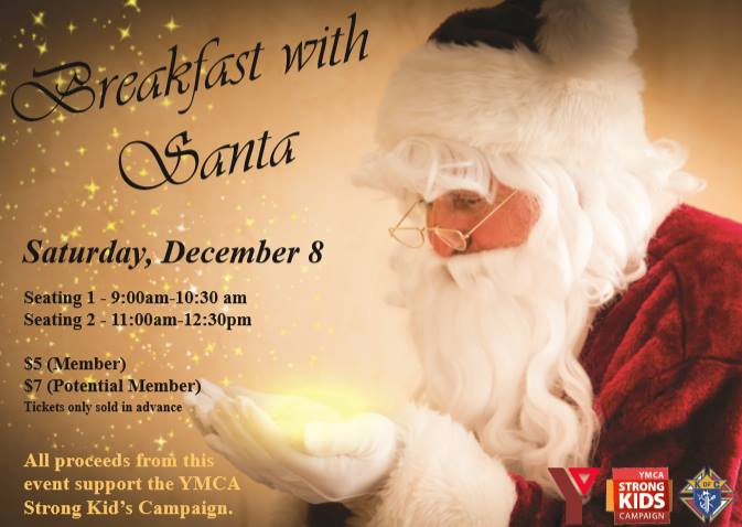 Join the YMCA & the Knights of Columbus for Breakfast with Santa!  There will be 2 breakfast sittings (9AM & 11AM). Children can have fun making some crafts and the best part.....Santa will be coming to visit all of the children AND will be bringing a present for each of them too!  Tickets are on sale now and can be picked up from either of our Fitness Centre locations (Fairford or Athabasca). Tickets will only be sold in advance. All proceeds go towards the YMCA Strong Kids Campaign.