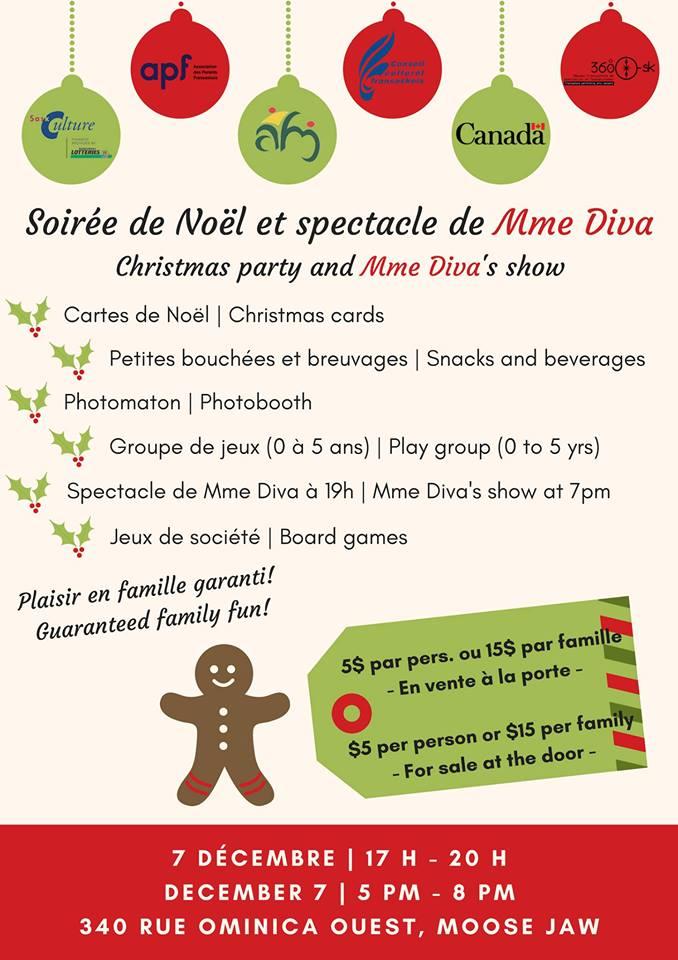[English below] Venez profiter d'une soirée en famille tout en plongeant dans l'esprit de Noël! 🎅🎄  Atelier de cartes de Noël - Petites bouchées et breuvages - Photomaton - Groupe de jeux (0 à 5 ans) - Jeux de société - Spectacle de Mme Diva à 19h  Billets (en vente à la porte - argent comptant seulement): 5$ par pers. ou 15$ par famille ____________________  Enjoy a family evening while getting into the Christmas spirit! 🎅🎄  Christmas cards workshop - Snacks and beverages - Photobooth - Play group (0 to 5 yrs) - Board games - Mme Diva's show at 7pm  Tickets (for sale at the door - cash only): $5 per person or $15 per family