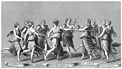 Celebrations during a wedding in Ancient Greece.