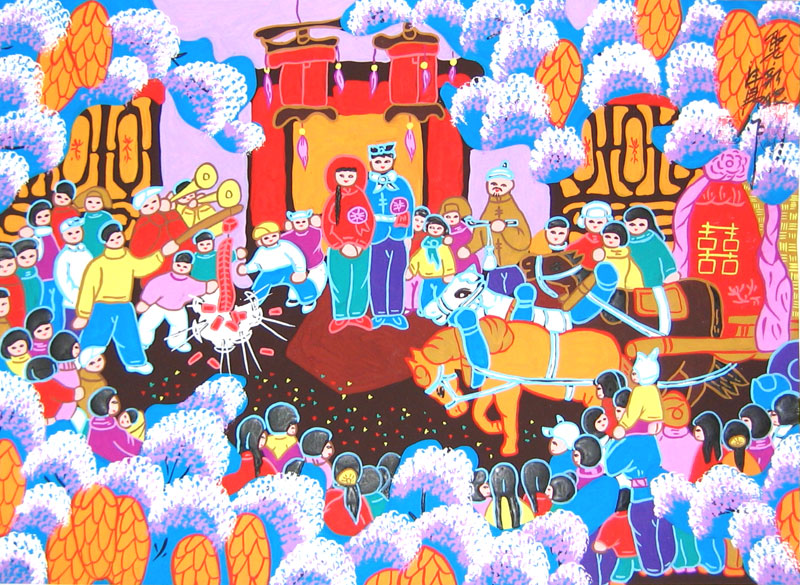 Chinese folk art painting of a wedding