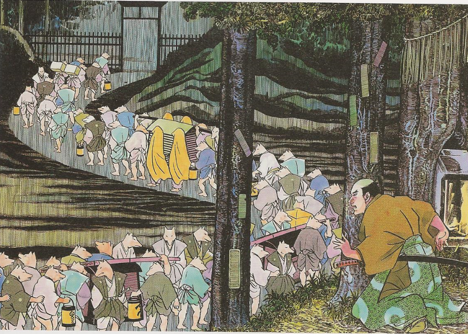Kitsune no Yomeiri – The Fox Wedding (Learn more about the story behind this painting here -https://hyakumonogatari.com/2013/07/19/kitsune-no-yomeiri-the-fox-wedding/)
