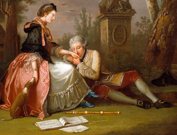 Detail from The Courtship by John Collet (1766)