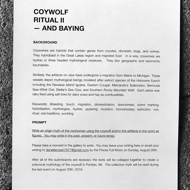 If you missed yesterday's event, you can still participate in COYWOLF Ritual 2: AND BAYING. Danielle is looking for origin myths of nonhumans using the objects from the event. DM us for more images or questions! Send myths to daniellerosen7887@gma.com and join us next Thursday for our last event of our summer residency!! ❤️❤️❤️ #tessellate #summerresidency #daniellerosen #coywolf