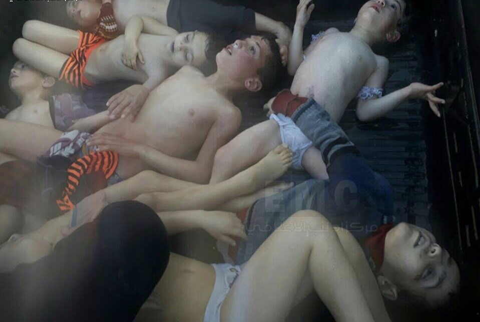 Dead children after the April 4th, 2017, sarin gas attack in the city of Khan Shaykhun, Idlib. At least 33 children died according to the Syrian Observatory for Human Rights.